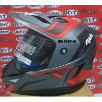 HELM FULL FACE MDS SUPER PRO RED GREY DOUBLE VISOR M L XL