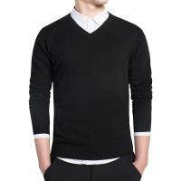 Sweater Rajut Polos/ Sweater V-Neck / Basic / simple - Hitam, S