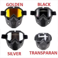 Kacamata Goggle Helm Masker Motor Set Paintball Airsoftgun Trail Cross - Transparan