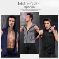 Kaos T-Shirt Compression Tanpa Lengan untuk Gym Workout Bodybuilding
