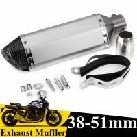 Muffler Pipa Knalpot Carbon Fiber 38-51mm Universal untuk Motor