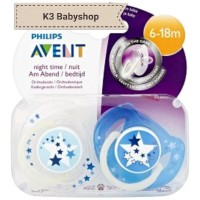 . Empeng Avent Night Time Soother 6 - 18m Star Glow in the Dark