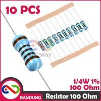 Cnc - 10X Resistor 100 100R 100Ohm 0.25W Metal Film Berkualitas