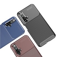 Case Huawei Nova 5T Rugged Armor Silicone Carbon Soft Casing - Hitam
