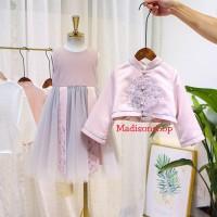 Cheongsam Gaun Anak Rompi Pink Dress Tutu Anak Murah Baju Imlek Anak