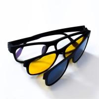 Kaca Mata Pro Vision BH - 013 + Magnet 3 Lensa Biru Kuning Putih