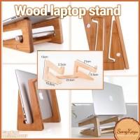 Wood laptop stand meja laptop kayu mini note book stand portable unik