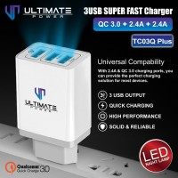 Ultimate Power 3USB Super Fast Charger QC 3.0 + 2.4A + 2.4A With LED