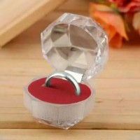 Kotak Cincin Single Crystal Akrilik Alas Busa Hantaran Perhiasan Mika
