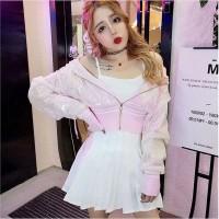 JES-PS2914 dancer costume tank top jaket skirt rok mini sexy korea