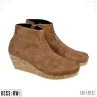 Sepatu Kasual Boots Wedges Resleting Wanita | 665-AZR-02