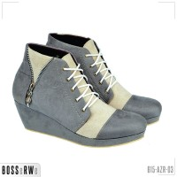 Sepatu Kasual Boots Wedges Lace Up Wanita | 615-AZR-03