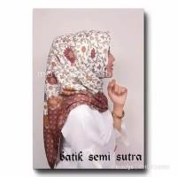 JILBAB SEGI EMPAT BATIK SEMI SUTRA / KAIN BATIK / DAUN COKLAT