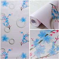 Wallpaper dinding 10m x 45cm pink motif circle bunga sakura biru