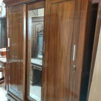 Lemari pakaian 3 pintu sliding kayu jati asli