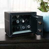 Brankas BillStone Estate Safety Box - 12 Watch Winder - Black Leather