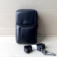 Tas Gadget 6 inch Kulit Asli Import - Dompet HP Selempang / Pinggang