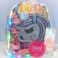 ransel sequin LED plus set penggaris unicorn