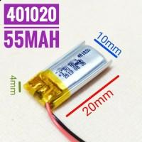 401020 Li ion 3.7v 55mAh Protection Baterai Charge Mp3 Mp4 GPS Hp