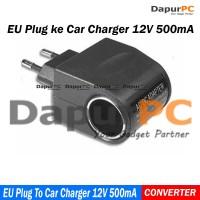 Adaptor AC-DC Car Charger Switch 12V 500 mA EU Plug - Black perkakas