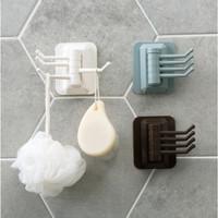 Gantungan 4 in 1 handuk kain lap - hook kunci - gantungan kamar mandi