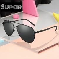 Kacamata Pria AV10 Aviator Sunglasses Flex ORIGINAL Polarized hitam