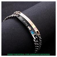 Korea Fashion Couple Bracelet Gelang Pasangan Simple Diamond Bracelet