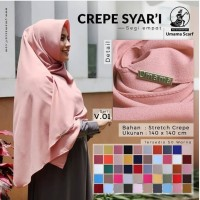 Hijab Jilbab Kerudung Segiempat Crepe syar'i by Umama uk 140*140