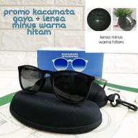 kacamata frame casual + lensa minus warna hitam