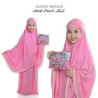 Mukena Pouch Travelling Anak Karakter Pink Muda Size Anak 6-7 Tahun
