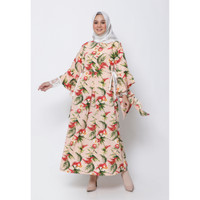 Hijab Ellysha FLORENCIA LEAF LACE SLIMMY DRESS PEACH