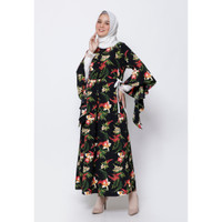 Hijab Ellysha FLORENCIA LEAF LACE SLIMMY DRESS BLACK