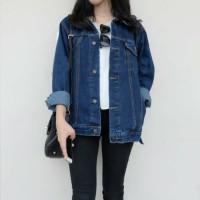 Jaket Wanita Cewek Jeans Biowash Biru Tua Navy M L XL JUMBO Kerah Saku
