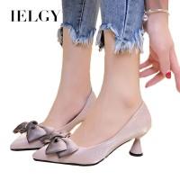 IELGY Sepatu High Heels Ujung Lancip dengan Hiasan Pita Gaya Korea