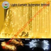 Lampu Natal Tirai daylight 300 LED 3x3 m Curtain Light Lamp waterproof - White