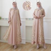 party look fashion muslim gamis pesta tile barukat brokat