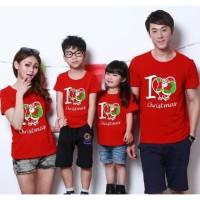 Family Couple Love Christmas Santa 2 Anak Baju Kaos Natal - MERAH