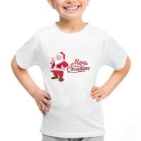 Kaos Baju Tshirt Anak Natal Santa Merry Christmas Putih