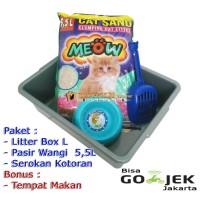 . Super Paket Tempat Kotoran Kucing Litter Box L Skop dan Pasir Gumpal