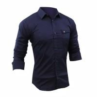 Dijual Kemeja Muslim Pria Lengan Panjang Baju Koko Slim Fit Katun