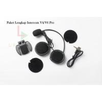 Paket Lengkap Headset Kabel Charger dan Clampkit Intercom Helm V4/V6 p