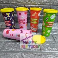 Gelas souvenir ulang tahun warna warni