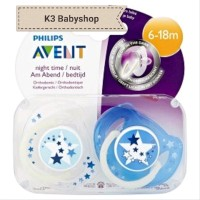 Empeng Avent Night Time Soother 6 - 18m Star Glow in the Dark Pac