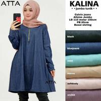 Kalina Blouse Jumbo Polos Calvin Blus Tunik Big Size Muslim Murah