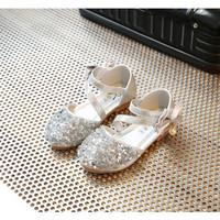 sepatu flat anak perempuan import pita samping silver