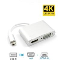 Kabel Converter Type C to HDMI VGA 2 in 1 4K 10Gbps