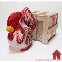 Celengan ayam jago tradisional-S + Krat Kayu
