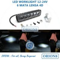 Lampu Tembak Sorot Motor LED Bar Cree 6 Titik 6 Mata Lensa 4D