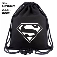 Tas gym supermen tas ransel serut black