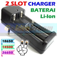 2 Slot Charger Baterai 18650 14500 26650 Lithium Ultrafire Police PB